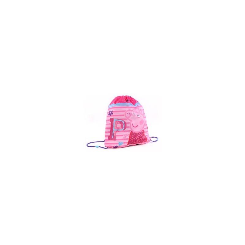 Taška / pytlík na přezůvky Prasátko Peppa růžový 44 x 37 cm / vecizfilmu