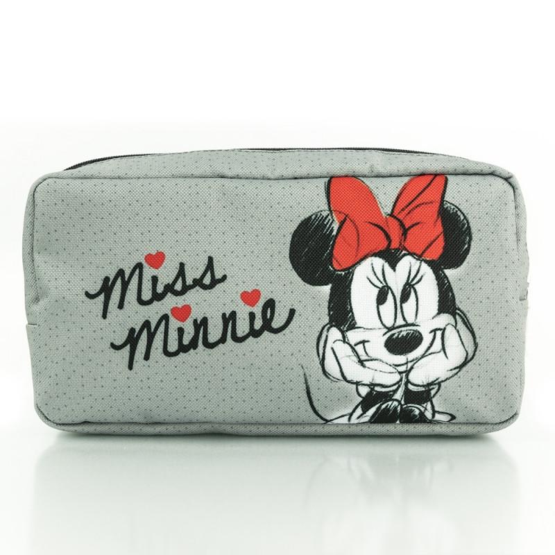 Kosmetická taštička na zip Minnie Mouse 20 x 10 cm šedá