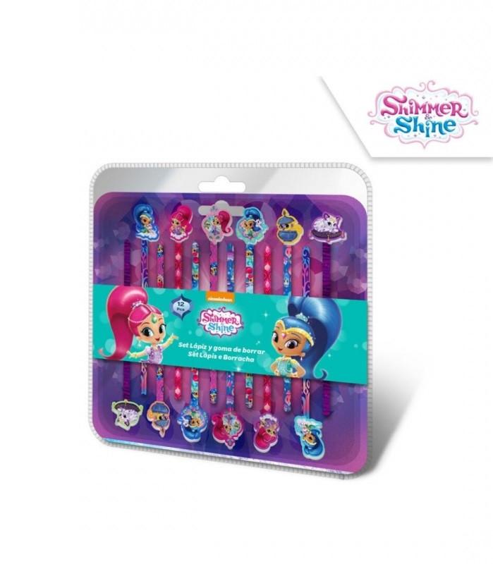 Tužky s dekorativní gumou Shimmer and Shine / 12 kusů v baleníl / veci do skoly