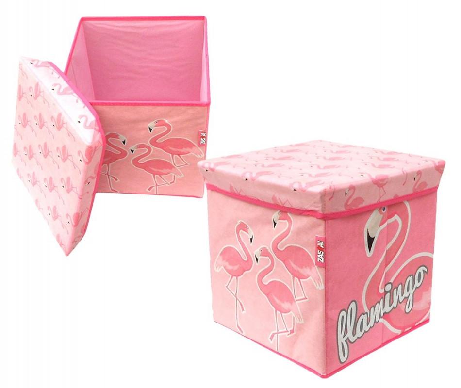 Textilní box s víkem Flamingo / Plameňák / 30 x 30 x 30 cm