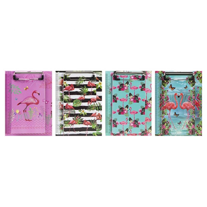 Tvrdé desky s klipsnou na papíry Plameňák / Flamingo / veci do skoly