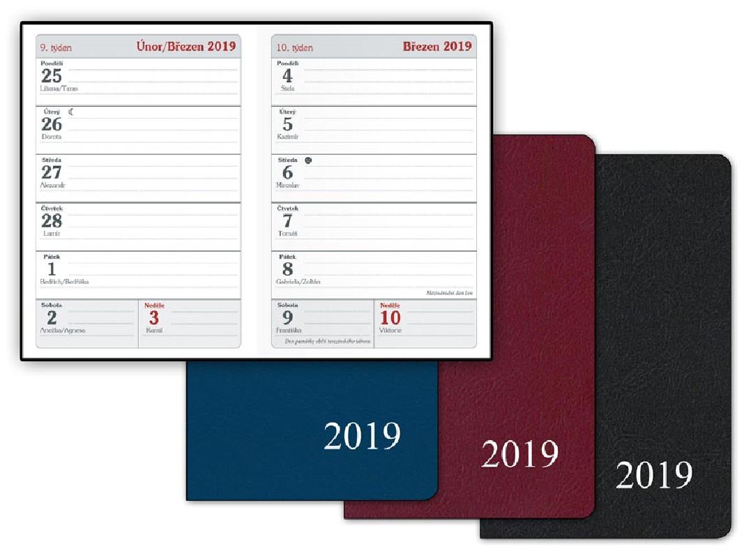 Diář rok 2019 / PVC týdenní / 7 x 10 cm / veci do skoly