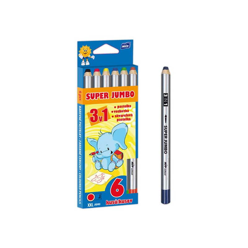 Pastelky Super Jumbo 3v1 / 6 pastelek