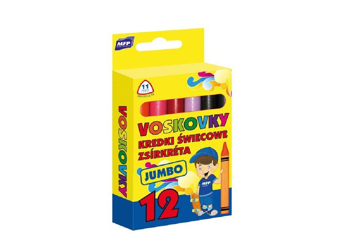 Voskovky Jumbo 12 barev / trojhranné / veci do skoly