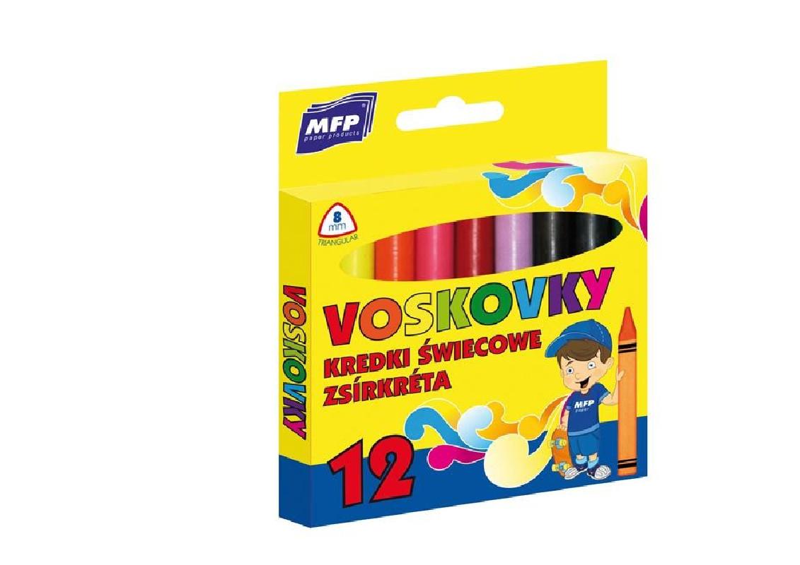 Voskovky 12 barev / trojhranné / veci do skoly