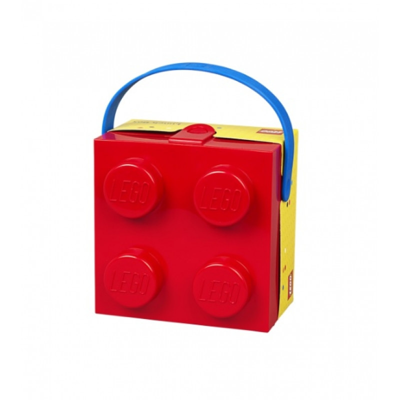 LUNCH BOX / KRABIČKA NA SVAČINU S ÚCHYTEM VE TVARU KOSTIČKY LEGO ČERVENÁ / ŽLUTÁ / veci do skoly