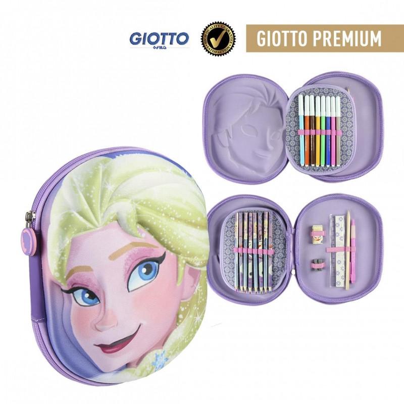 Penál / Pouzdro s plnou výbavou Elsa / Frozen 3D / fixy, pastelky, ořezávátko, guma, pravítko