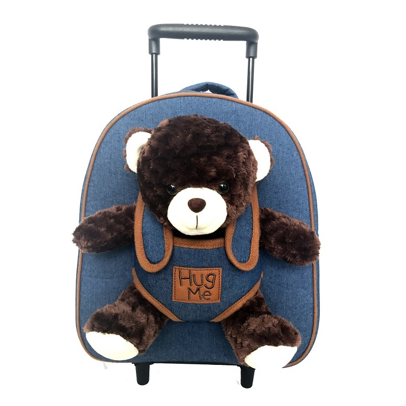 Batoh na kolečkách s odnímatelným plyšovým medvědem / 29 x 33 x 12 cm