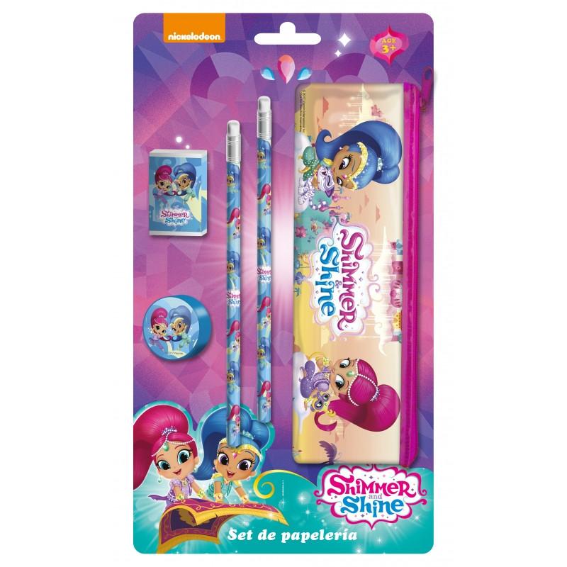 Školní sada Shimmer and Shine / penál, tužky, guma, ořezávátko / veci do skoly