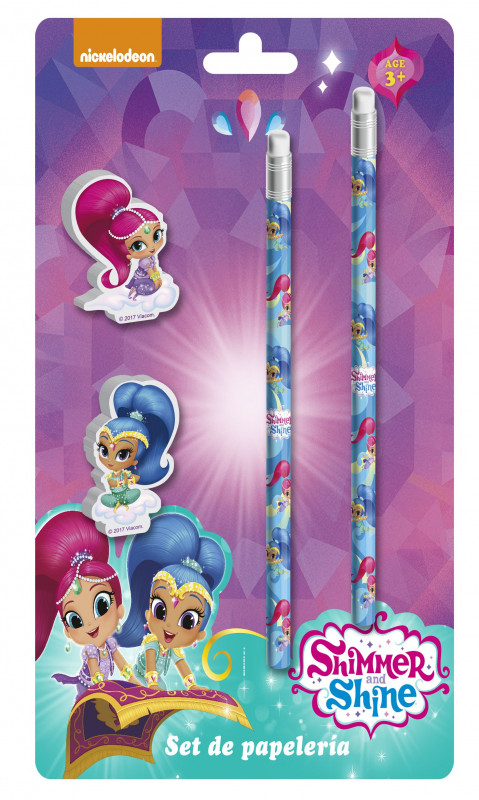 školní sada Shimmer and Shine / tužky, dekorativní školní gumy / 24 x 12 cm