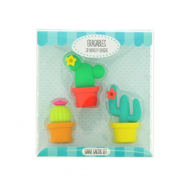 Dekorativní školní gumy Kaktusy / 3 kusy v balení
