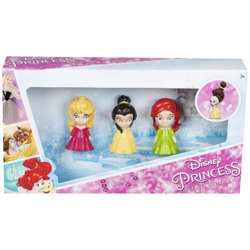 Dekorativní školní guma Princess / Princezny 3D puzzle / 3 gumy v balení