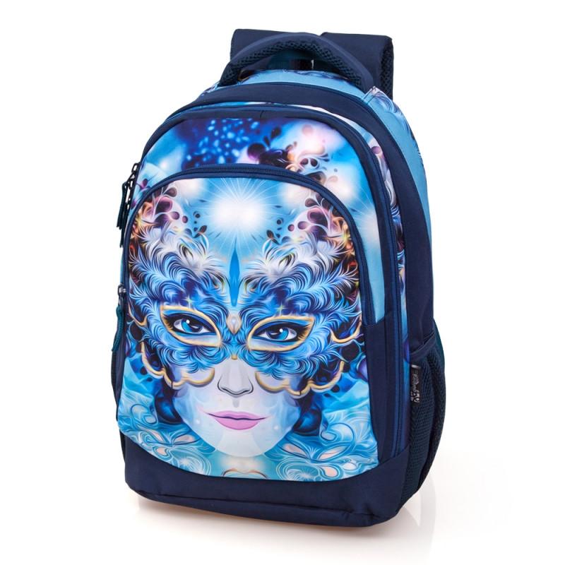 Školní batoh 3 komorový Delbag Maska / 44 x 30 x 15 cm / veci do skoly
