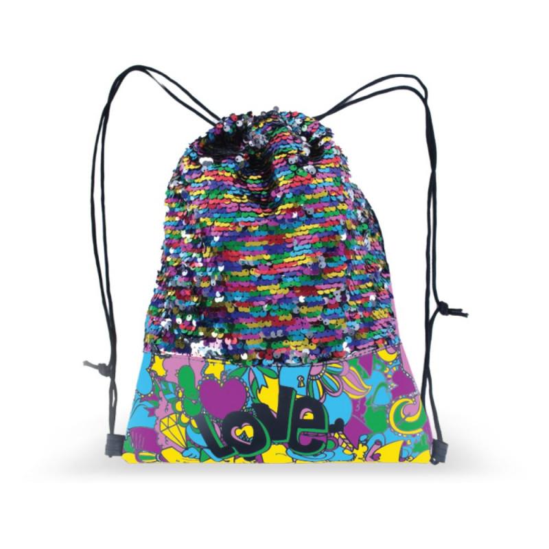 Kreativní gym bag / pytlík na přezůvky s flitry