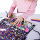 Kreativní gym bag / pytlík na přezůvky s flitry / vecidoskoly